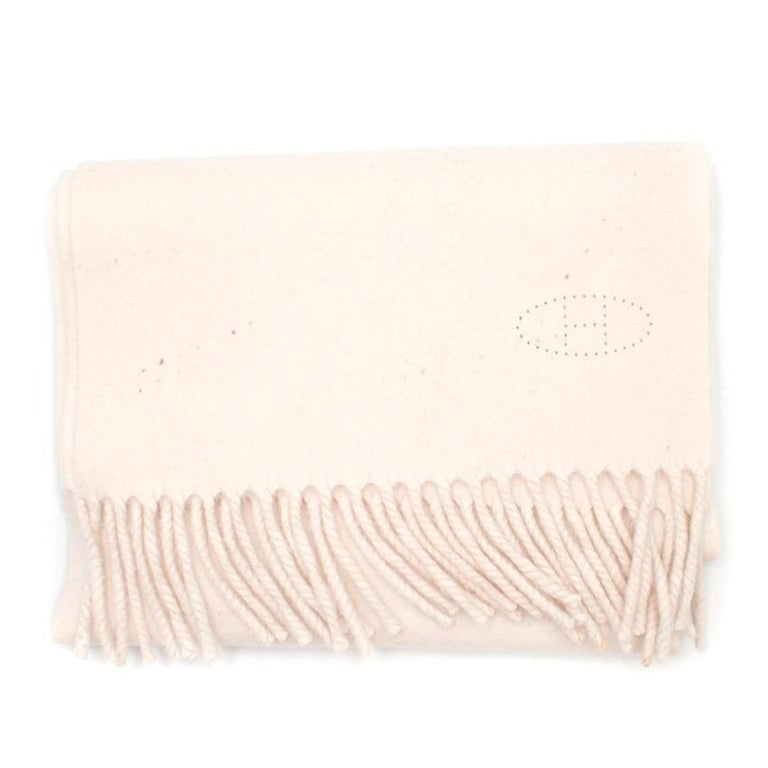 White Hermes Cream Cashmere Scarf For Sale