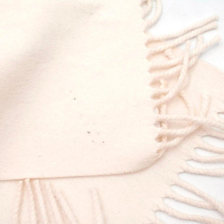 Hermes Cream Cashmere Scarf For Sale 2