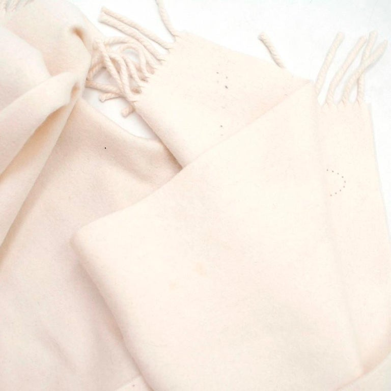 Hermes Cream Cashmere Scarf For Sale 4