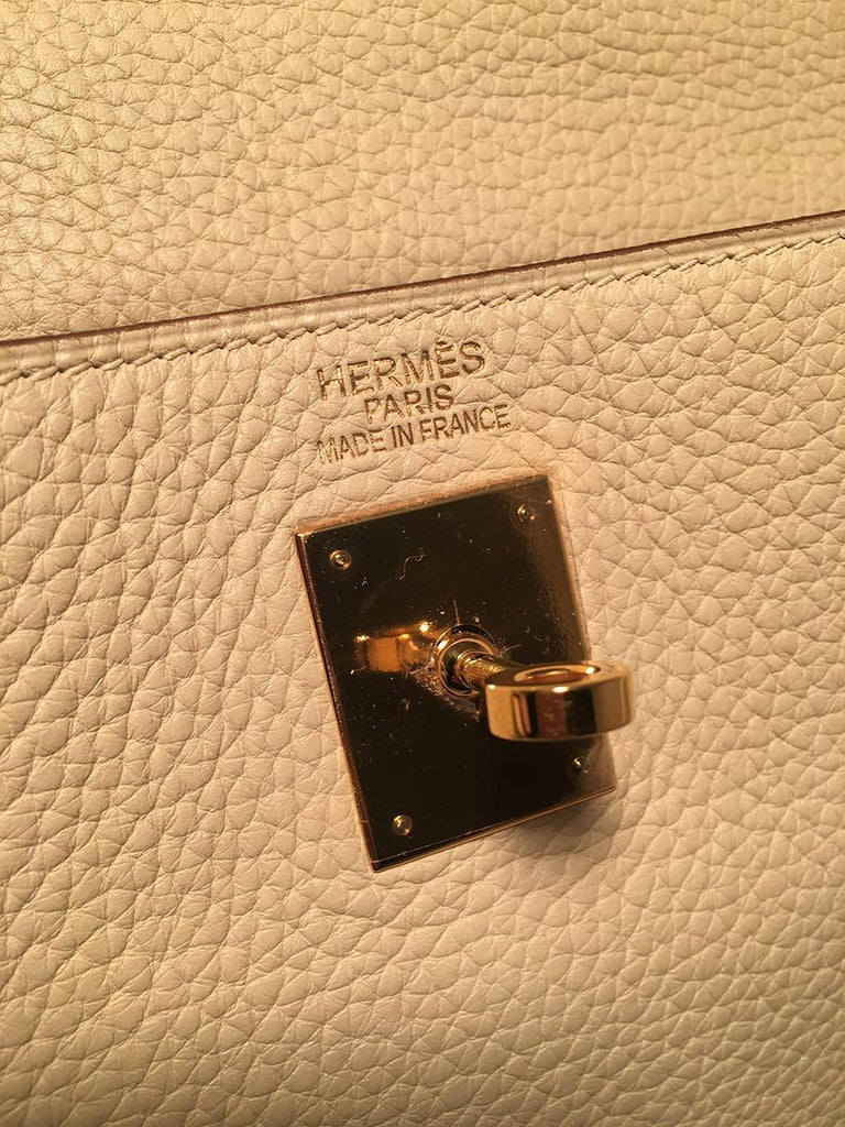 Hermes Parchemin Taurillon Clemence Leather Kelly 35 GHW For Sale 3