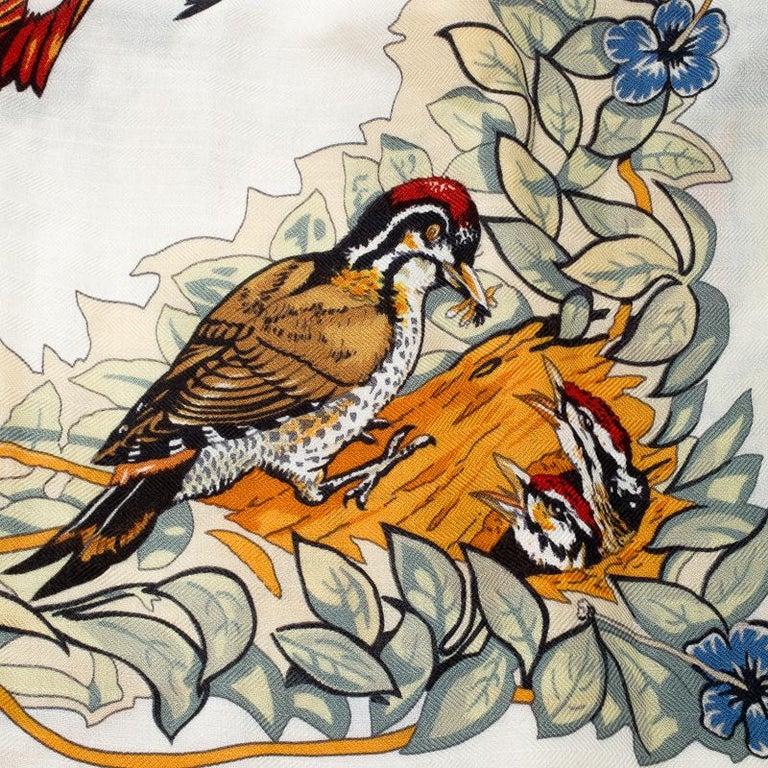 Beige Hermes Cream Jungle Love Print Cashmere and Silk Square Shawl For Sale
