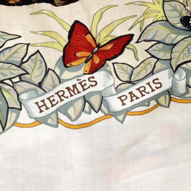 Women's Hermes Cream Jungle Love Print Cashmere and Silk Square Shawl For Sale