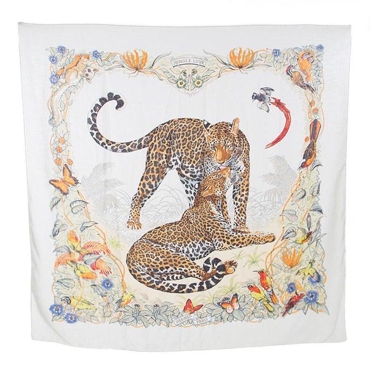 Hermes Cream Jungle Love Print Cashmere and Silk Square Shawl For Sale 1
