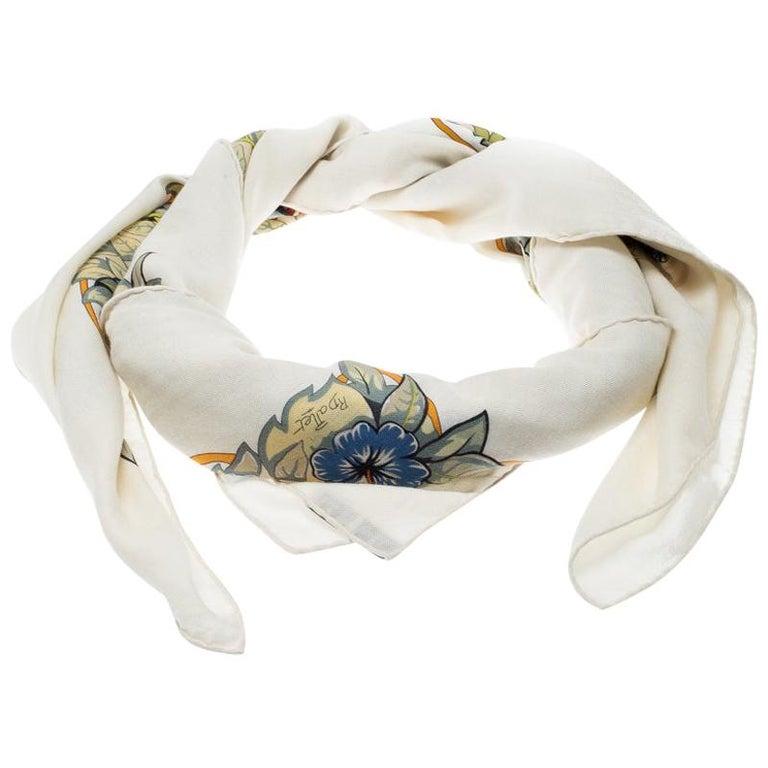 Hermes Cream Jungle Love Print Cashmere and Silk Square Shawl For Sale