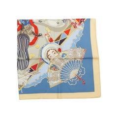 Hermes Cream & Multicolor Silk Scarf