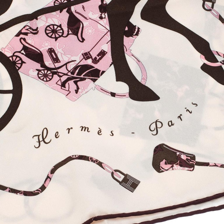 Beige Hermes Cream, Pink & Brown Printed Silk Kelly en Caleche Scarf For Sale