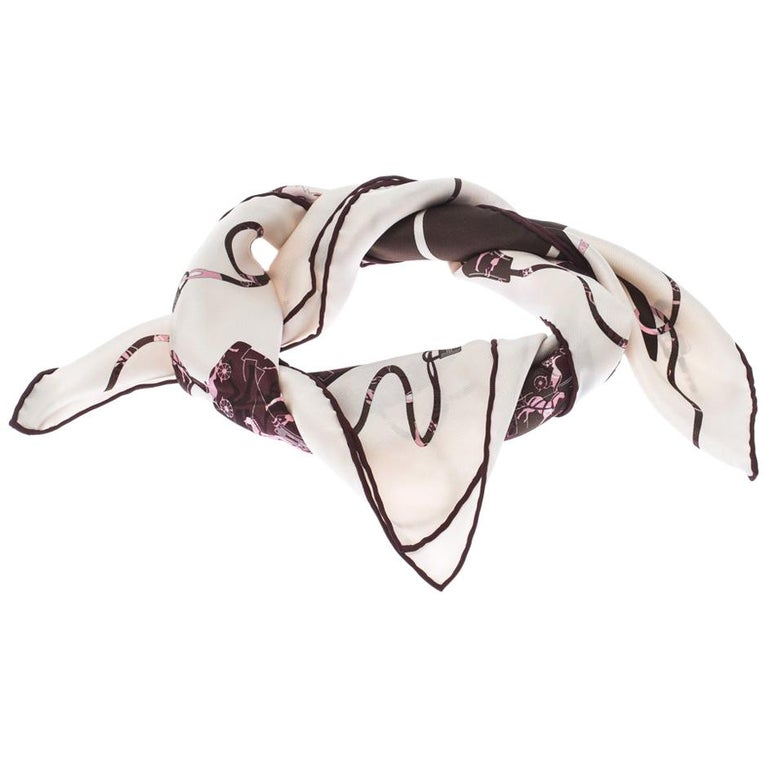 Hermes Cream, Pink & Brown Printed Silk Kelly en Caleche Scarf For Sale