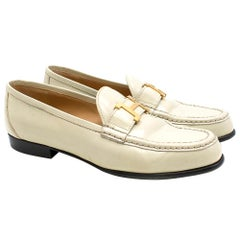 Hermes Cream Polished Leather Loafers 38