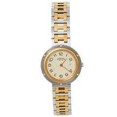 Hermes Cream Two-Tone Stainless Steel Clipper Women's Wristwatch 30 mm