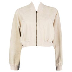 HERMES cream white suede leather CROPPED BOMBER Jacket 42 L