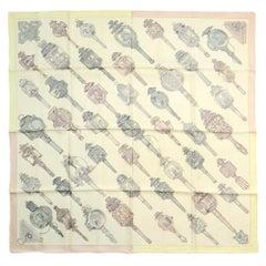 "Hermes Creme/Vert/Gris/Rose Poudre ""Merveilleuses"" Lanternes 90cm Silk Scarf"