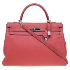 Hermes Crevette Pink Clemence Palladium Hardware Kelly Retourne 35 Bag