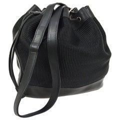 Hermes Crinoline Black Leather Bucket Gold Drawstring Carryall Shoulder Bag