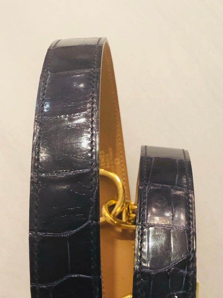 Hermes Crocodile Belt  For Sale 4