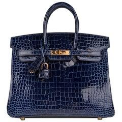 Hermes Crocodile Birkin Bag 25 Blue Saphire Gold Hardware Porosus