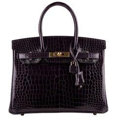 Hermes Crocodile Birkin Bag 30 Aubergine Eggplant Gold Hardware Porosus