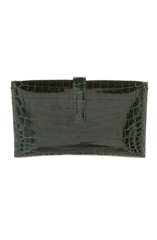 Black Hermes Crocodile Exotic Leather 'H' Logo  Evening Wallet Clutch Flap Bag For Sale
