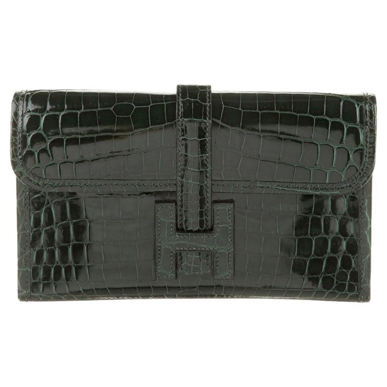 Hermes Crocodile Exotic Leather 'H' Logo  Evening Wallet Clutch Flap Bag For Sale