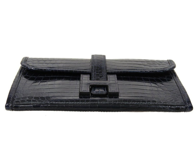 Black Hermes Crocodile Exotic Leather 'H' Logo  Evening Wallet Clutch Flap Bag in Box For Sale