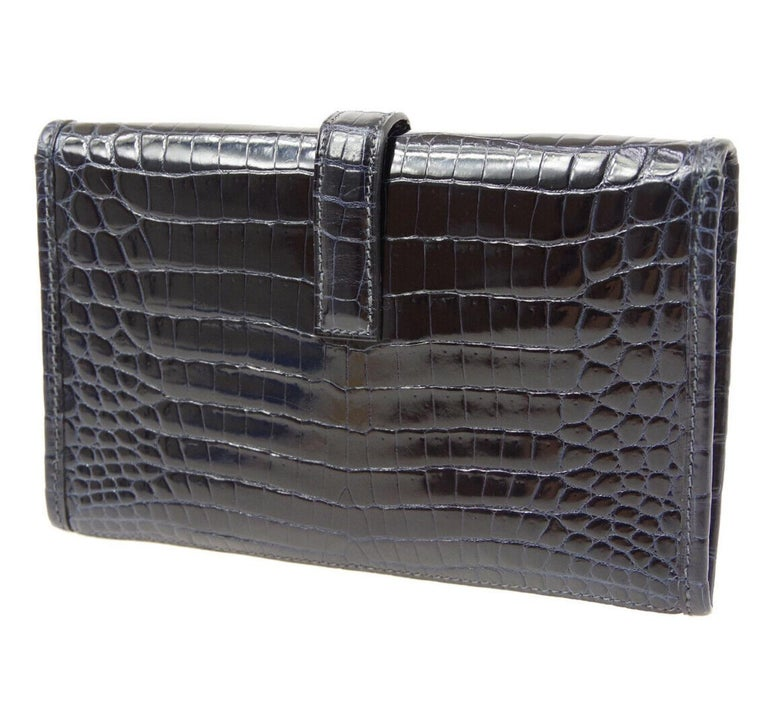 Hermes Crocodile Exotic Leather 'H' Logo  Evening Wallet Clutch Flap Bag in Box In Good Condition For Sale In Chicago, IL