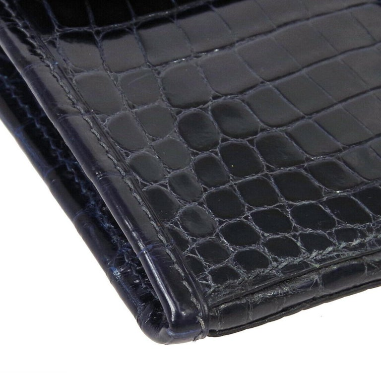 Men's Hermes Crocodile Exotic Leather 'H' Logo  Evening Wallet Clutch Flap Bag in Box For Sale