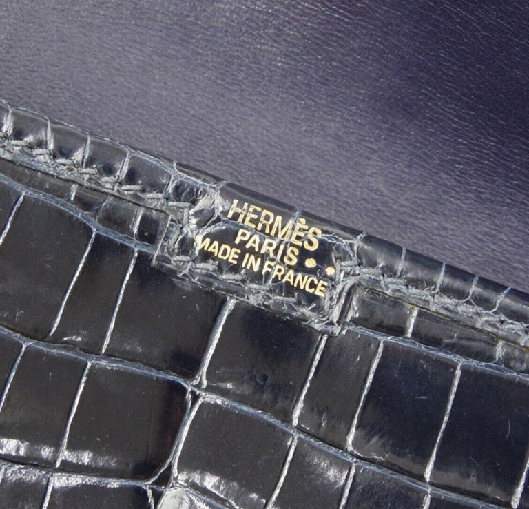 Hermes Crocodile Exotic Leather 'H' Logo  Evening Wallet Clutch Flap Bag in Box For Sale 1