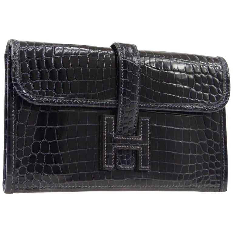 Hermes Crocodile Exotic Leather 'H' Logo  Evening Wallet Clutch Flap Bag in Box For Sale