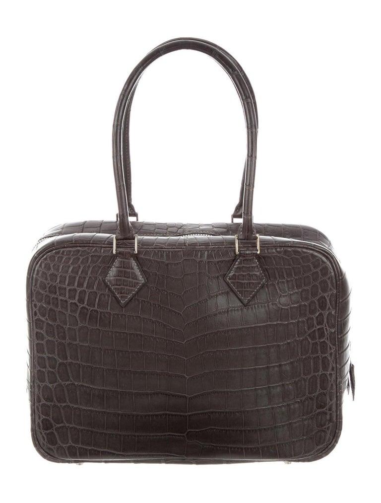 Black Hermes Crocodile Exotic Leather Palladium Zip Top Handle Satchel Evening Bag For Sale