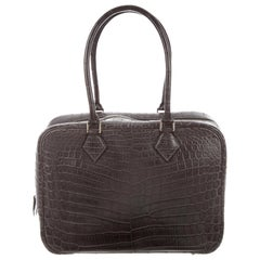 Hermes Crocodile Exotic Leather Palladium Zip Top Handle Satchel Evening Bag