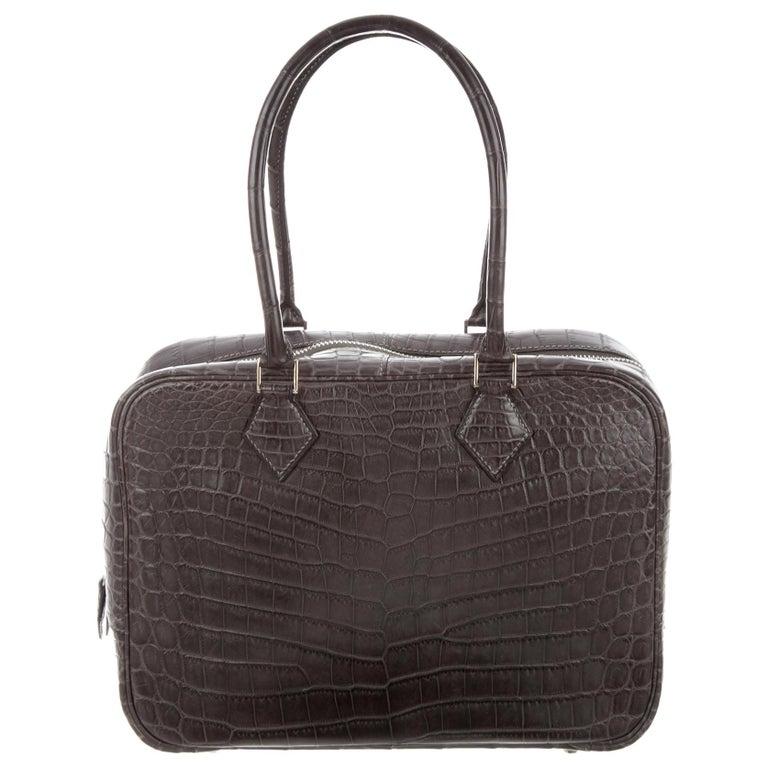 Hermes Crocodile Exotic Leather Palladium Zip Top Handle Satchel Evening Bag For Sale