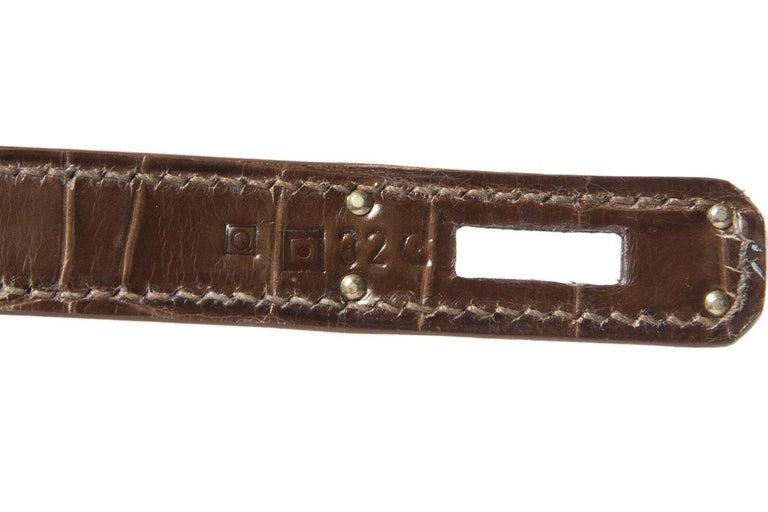 HERMÈS  Crocodile Kelly Cut Longue Clutch  For Sale 6