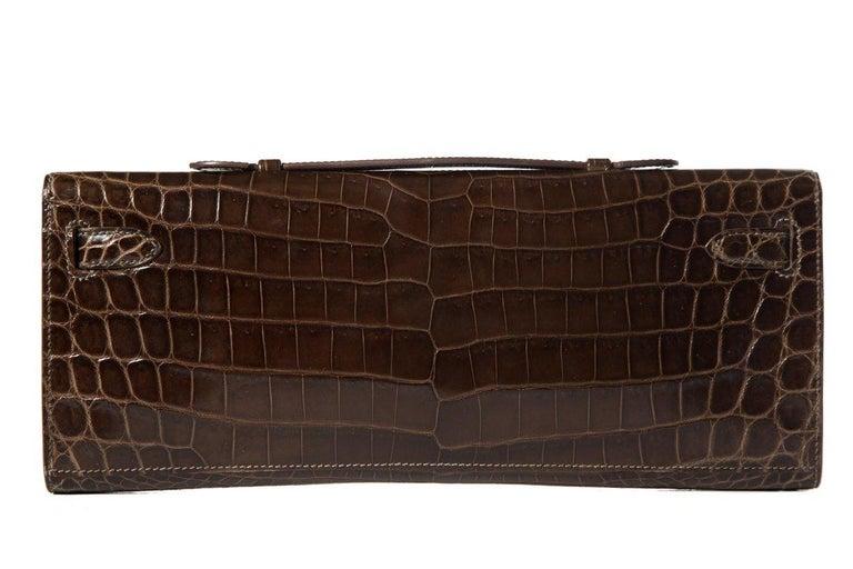 Black HERMÈS  Crocodile Kelly Cut Longue Clutch  For Sale