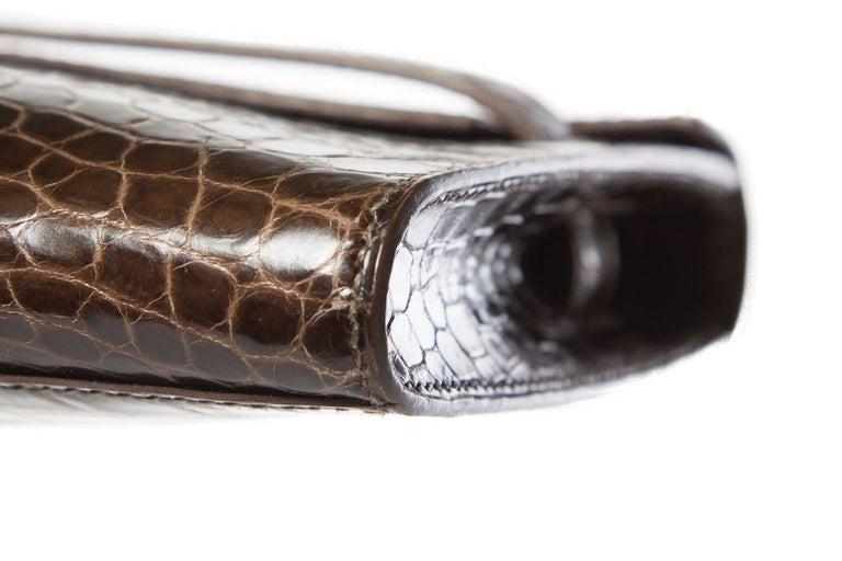 HERMÈS  Crocodile Kelly Cut Longue Clutch  For Sale 1