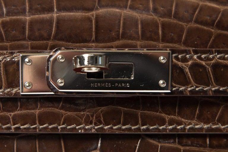 HERMÈS  Crocodile Kelly Cut Longue Clutch  For Sale 3