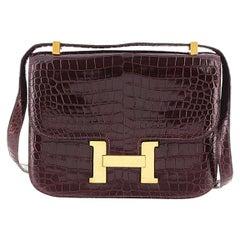 Hermes Crocodile Leather Constance 23 Crossbody Bag