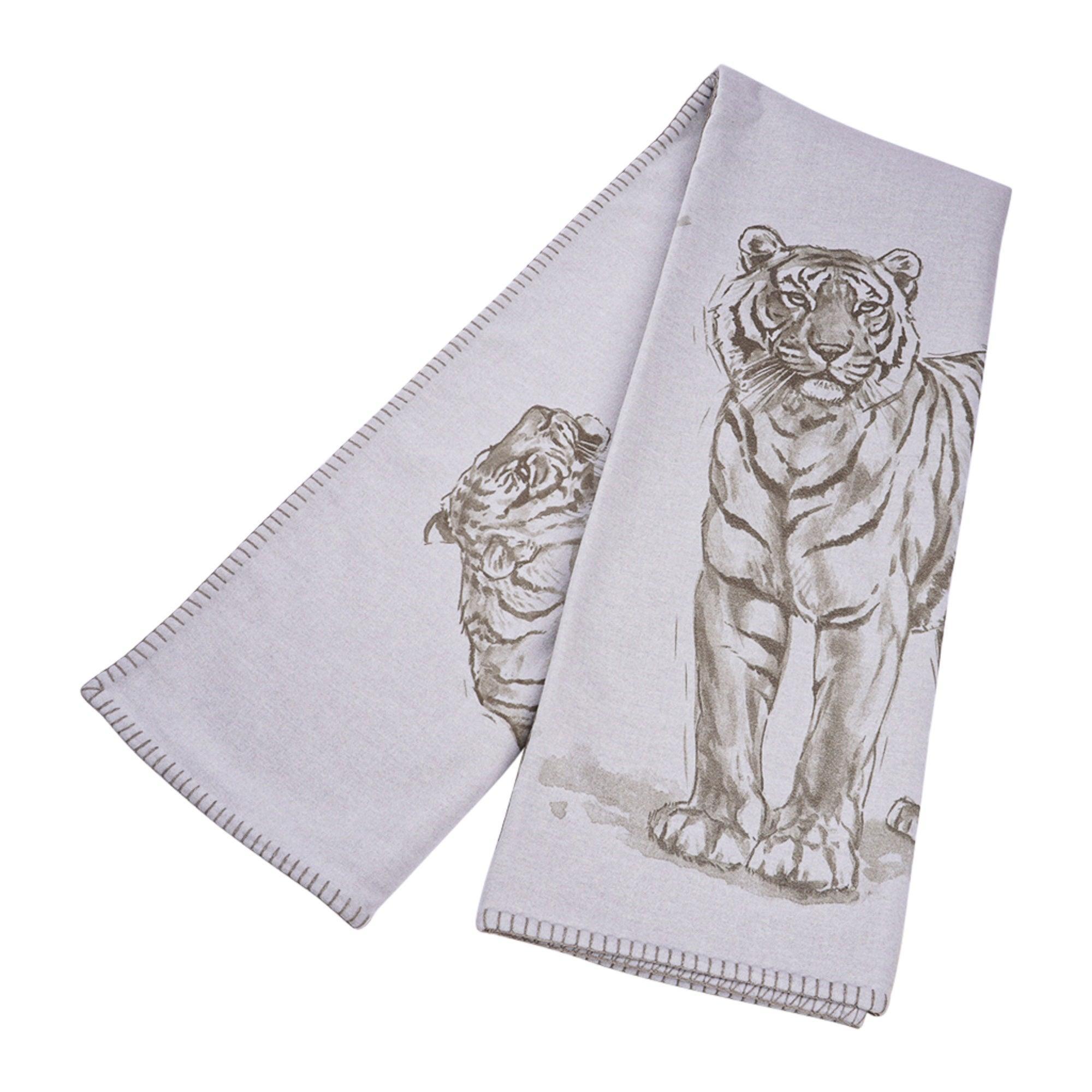 Hermes Croquis De Tigre Blanket Gris Cashmere New w/ Box