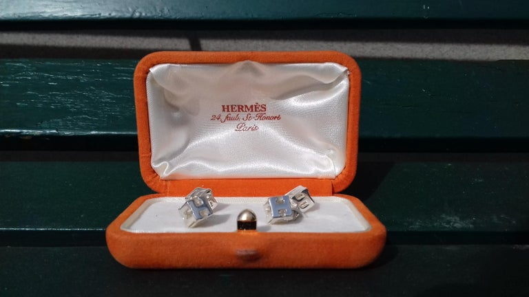 Beautiful Authentic Hermès Cufflinks  Pattern: Letters from the