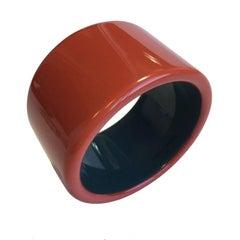 HERMES Cuff Bracelet in Dark orange Lacquered Wood
