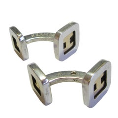 HERMES Cufflinks in Sterling Silver and Small H in Gold