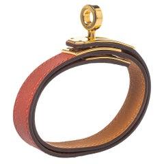 Hermés Cuivre Swift Leather Gold Plated Mini Kelly Double Tour Bracelet T2