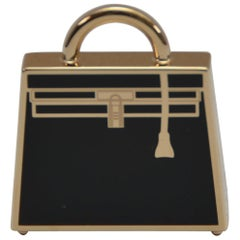 Hermes Curiosite Kelly Laque Charm Black / Gold   Pendant  NEW