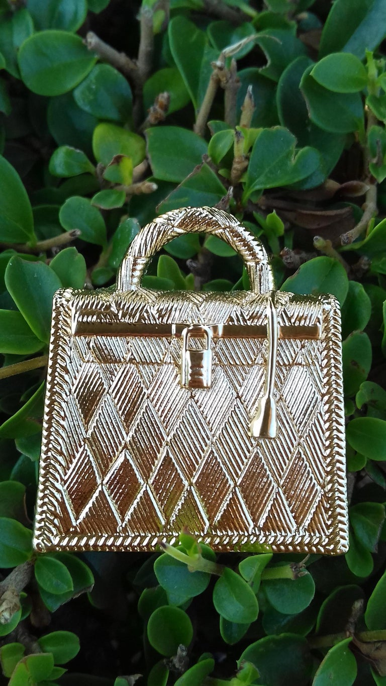 Hermès Curiosity Kelly Bag Pendant Charm Permabrass Metal  For Sale 8