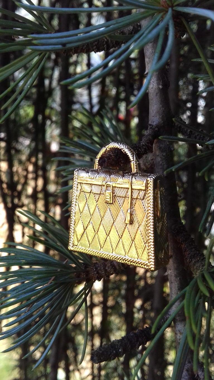 Hermès Curiosity Kelly Bag Pendant Charm Permabrass Metal  4