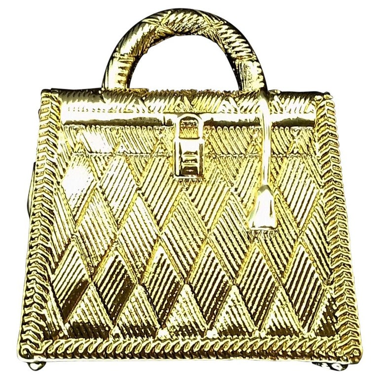 Hermès Curiosity Kelly Bag Pendant Charm Permabrass Metal  For Sale
