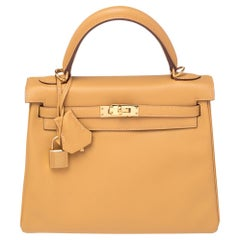 Hermes Curry Swift Leather Gold Plated Kelly Retourne 25 Bag