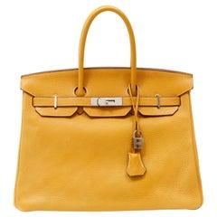 Hermès Curry Yellow Clemence 35cm Birkin with Palladium