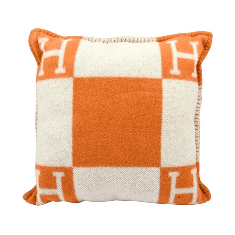 Hermes Cushion Avalon I PM Signature H Orange Throw Pillow Cushion