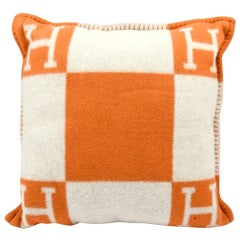 Hermes Cushion Avalon I PM Signature H Potiron Orange Throw Pillow Cushion