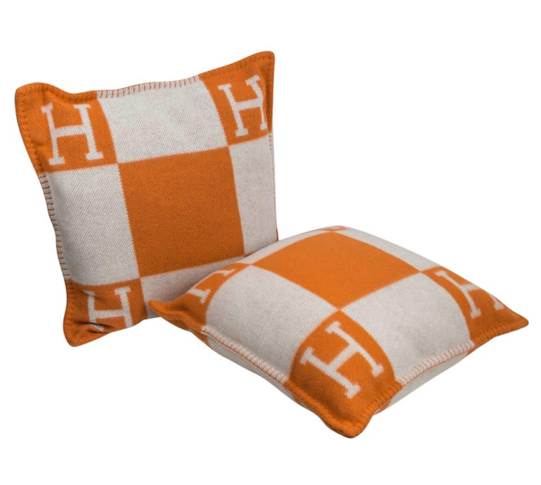 Hermes Cushion Avalon I PM Signature Orange Throw Pillow Cushion Set of Two New In New Condition For Sale In Miami, FL