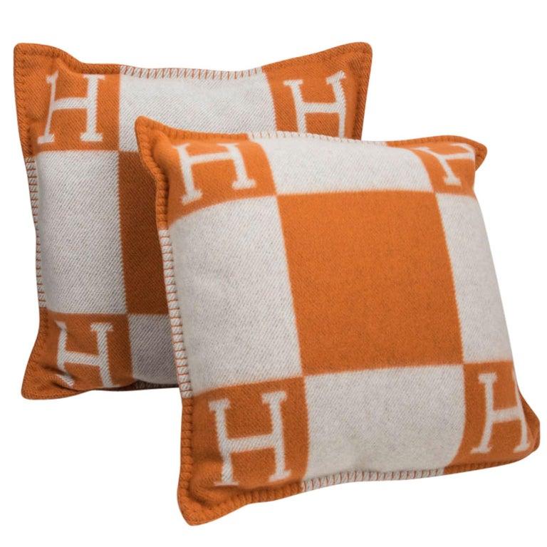 Hermes Cushion Avalon I PM Signature Orange Throw Pillow Cushion Set of Two New For Sale